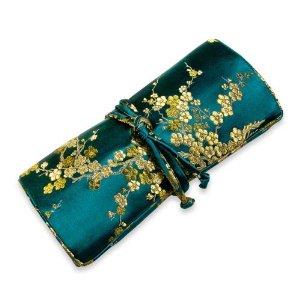 Silk Jewelry Roll Travel Case