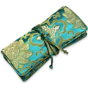Large Jewelry Roll in Silk Brocade