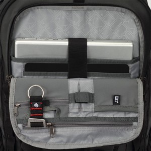 The detachable bag has a front organizer compatment