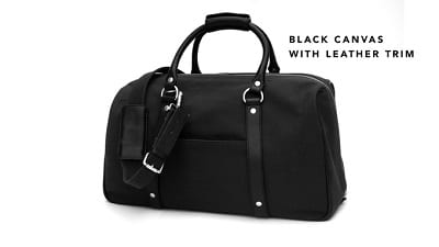 Black canvas with leather trim
